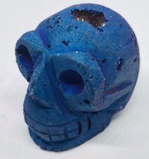Crâne de Pierre Précieuse Bleu Paillettes Druzy Geode Quartz 121g 42x36, 5x51 mm