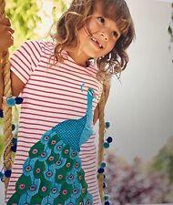 NWT 3/4 Mini Boden Coral Striped Cotton Dress w/ Peacock Applicade