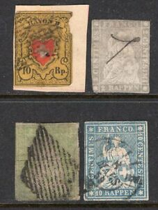 Switzerland 4 Early Imperf Classics Used, 1 Rayon + 3 Strubels With Faults