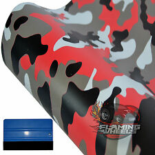 3m x 75cm JDM urban red matte city camouflage camo car wrap vinyl + SQUEEGEE
