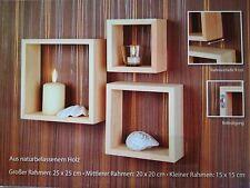 Wandregal Oslo 3er-Set Holzoptik Holzrahmen Wandrahmen Dekorahmen Wanddekoration