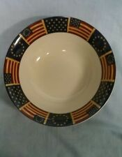 """COVENTRY STONEWARE LARGE SERVING BOWL 10 1/2"""" LIBERTY PATTERN STARS AND FLAGS"""