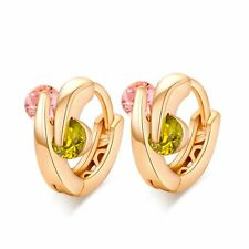 Womens yellow Gold Filled Pink Green CZ Small Hoop Earrings Free Shipping