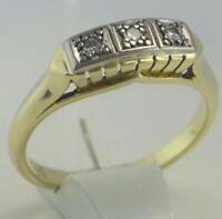 Vintage  Damenring mit Diamanten ca.0.15 ct  / 585er 14 K Gold (56 (17,8 mm Ø*