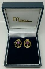 Miracle Amethyst Earrings Thistle Stud. Antique Gold. Boxed.