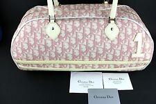 Auth Christian Dior Paris Trotter Pattern Boston Bag Pink&White Italy #BO G 0094