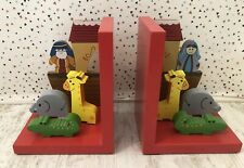 Noah's Ark Wooden Book Ends Childrens Bedroom Nursery