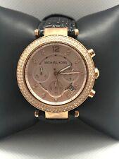 Michael Kors MK5896 Women Leather Analog Rose Gold Dial Quartz Wrist Watch BP27
