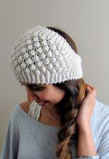 Winter White Bobble HeadBand Winter Head Wrap Knit handmade Ear warmer