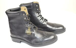 Thistle Men's Black Leather Comfort Ghillie Boot / Kilt Shoe - UK Size 7