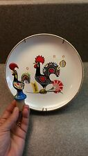 """ROOSTER """"O GALO DE BARCELOS"""" HAND PAINTED BOTTLE CORK STOPPER & PLATE PORTUGAL"""