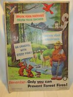VINTAGE RARE Smokey the Bear Poster - 1958 - Forest Fire Prevention Sign