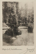 Original 1930s bromoil fountain by FRANZ ZAWADIL, signed & dated PICTORIALISM