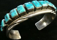 Turquoise and Silver Native American Jewelry Tommie Tso Jr. Navajo Bracelet -
