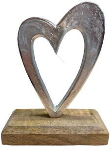 Rustic aluminium Heart set on Wooden Base Double or Single