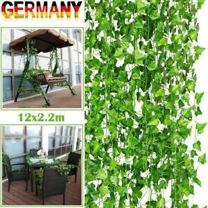 12 Stück Efeugirlande Künstlich Rebe kunstblumen Hängende Pflanzen 2m Efeu Deko