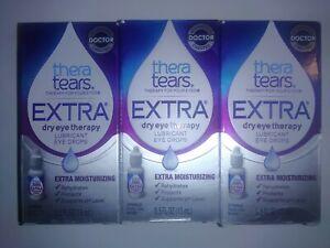 3 x Bottles Thera Tears EXTRA Dry Eye Lubricant Eye Drops 0.5 oz (15 mL)  9/2022