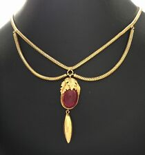 Paste Necklace Circa 1800's A Georgian Pinchbeck Red