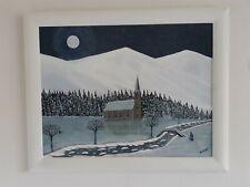 """Gabriel Donnet - """"La chapelle sous la neige """" - Tableau original - Art naïf -"""
