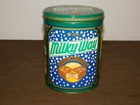"VINTAGE KITCHEN 7 1/2"" HIGH MILKY WAY SNACK BARS CANDY  TIN CAN *EMPTY"