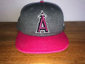 Womens ANGELS BASEBALL Pink Gray Mother's Day Baseball Cap Hat Size 7 5/8 NWOT!