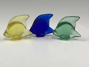 3 Small Lalique Colored Tropical Fish Figurines