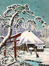 PRINT PAINTING POSTCARD JAPAN WINTER SCENE TORII TEMPLE GATE SNOW TREE NOFL0876