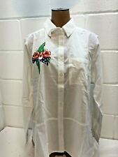 White with PARROT embroidery shirt blouse Cotton Traders size 10 HAWAIIAN