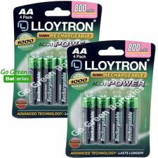 8 x Lloytron AA 800 mAh Rechargeable Batteries Solar Light Dect Cordless Phone