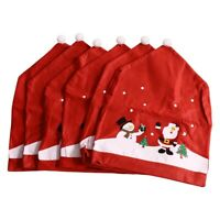 6Pcs Santa Claus Christmas Chairs Cover Cap Non-Woven Dinner Table Red Hat G8N7
