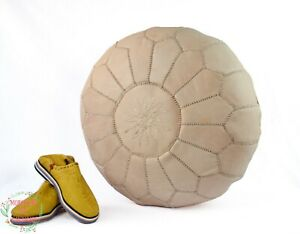 Round floor pouf Moroccan pouf ottoman for bedroom Natural Leather Moroccan foot