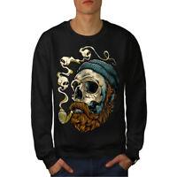 Wellcoda Head Face Beard Skull Mens Sweatshirt,  Casual Pullover Jumper