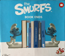 SMURFS BOOK ENDS BOXED PEYO BY MUSTARD 2011 LITTLE BLUE MEN 16cm TALL RARE