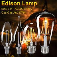 E27 E14 Edison Bombilla lámpara LED Retro Vintage Filamento COB Luz 110V 220V D
