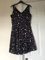 WAREHOUSE Navy Floral Pleated Sun Dress Skater Cami Mini Size 12