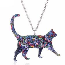 Acrylic Cat Kitten Pet Colourful Enamel Necklace Pendant Jewellery Film Gift Bag
