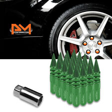 M12X1.5 Green JDM Spiked Cap Hex Wheel Lug Nuts+Extension 20mmx123mm Tall 20Pc