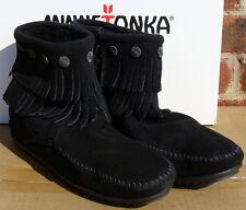 Minnetonka Women's Double Fringe Side Zip Boot- Black Suede - 6