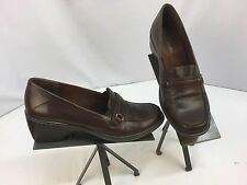 Clark's Pumps Shoes Sz 9 M Brown Leather Slip On Made in Brazil Mint YGI M
