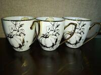 3 CIROA LUXE GOLD BOTANICAL FLORAL PUMPKIN THANKSGIVING MUGS CUPS SET 3