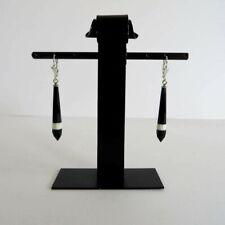 Paar schwarz-weiss-schwarze Glasohrringe / Earrings 30er Jahre Böhmen ART DECO