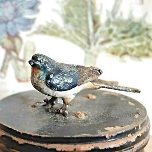 OLD ANTIQUE MINIATURE AUSTRIAN VIENNA COLD PAINTED BRONZE SWALLOW BIRD C. 1900