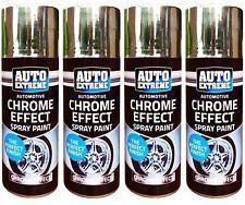 4 x Chrome Effect Spray Paint Auto DIY Car Trendy Foil Mirror Metallic 200ml BN.