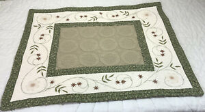 Patchwork Quilt Wall Hanging, Embroidered Flowers & Leaves, Green, Beige, White