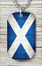 """FLAG SCOTLAND COUNTRY DOG TAG NECKLACE 30"""" FREE CHAIN -dnb7Z"""