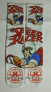 Custom Speed Racer white dry Fit socks fire red X XII  toons