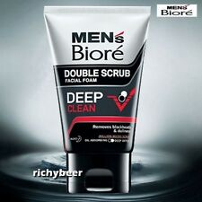 1 x 100 ML. Men  Biore Foam Double Scrub DEEP CLEAN Remove Blackheads & dullness