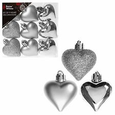 Snow White Shatterproof Christmas Tree Decoration - 9 Pack 40mm Hearts Silver