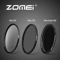 77mm slim UV&Fader ND2-400&CPL filters Set For Digital Camera  Novice Essentials
