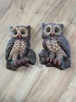 Set of 2 Vintage Hard Foam Wall Hanging Owl Plaques